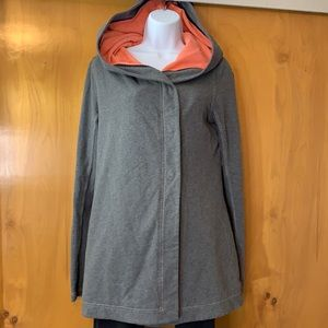 Lululemon grey knit snap closure hooded jacket